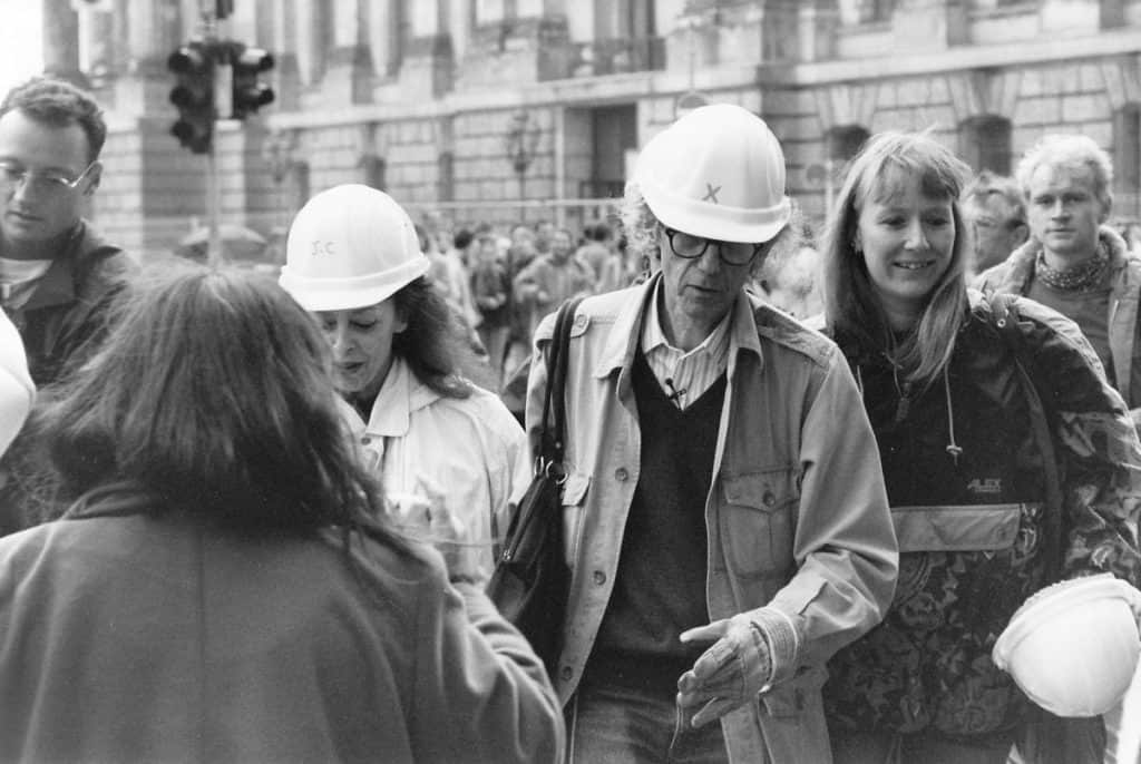 Jeanne-Claude and Christo at the Reichstag, Berlin, 1995.