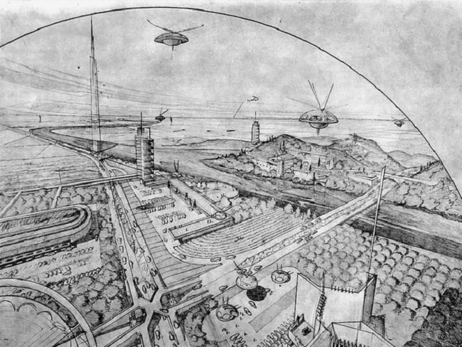 Frank Lloyd Wright utopian architecture, Broadacre City, 1932.