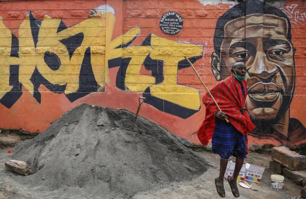 Graffiti commemorating Floyd in Nairobi, Kenya.