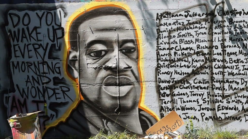 Mural celebrating George Floyd in Manette.