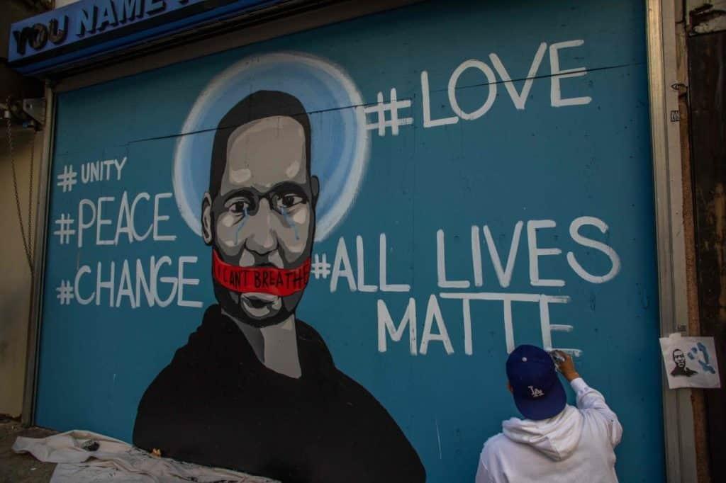 Street artist Celos, George Floyd, Los Angeles.