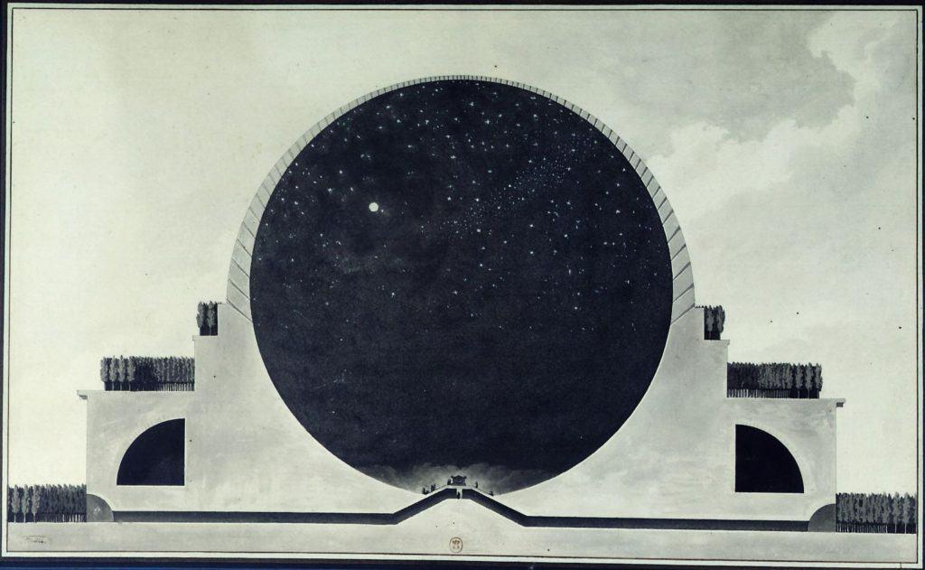 Utopian Architecture by Étienne-Louis Boullée. Cenotaph for Sir Isaac Newton (1784).