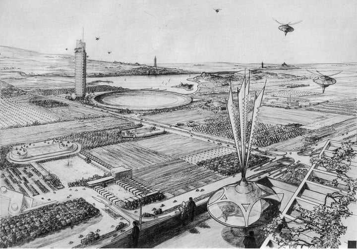 Utopian architecture. Frank Lloyd Wright, Broadacre City, 1932