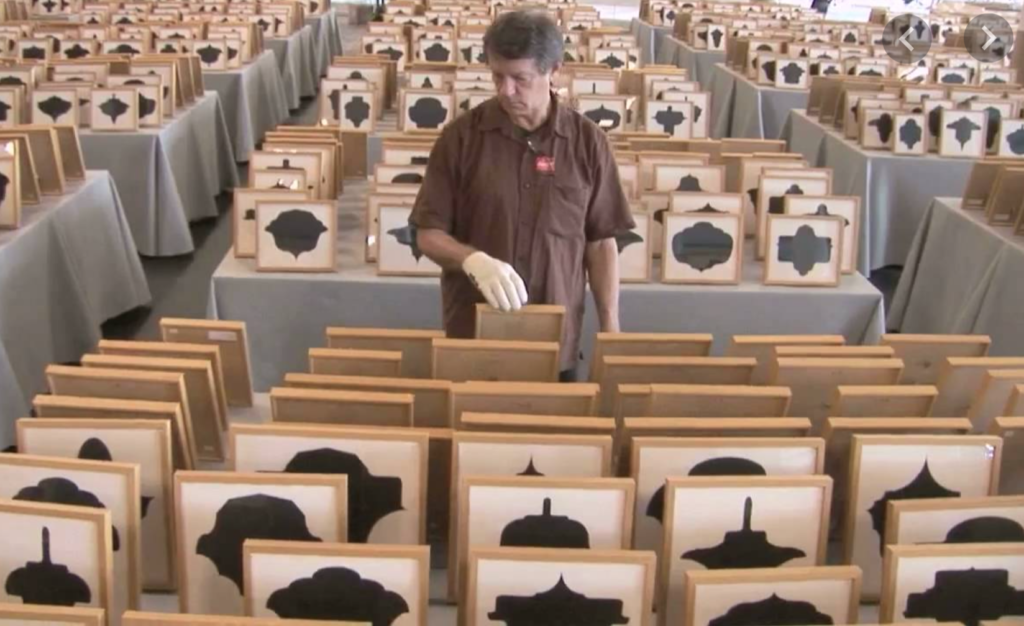"""Allan McCollum with """"Drawings"""" project."""