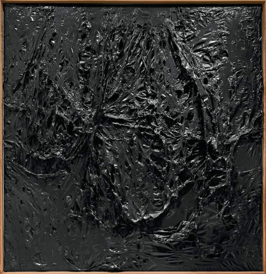 Burnt Plastic art. Alberto Burri, Nero Plastica (Black Plastic), 1963.