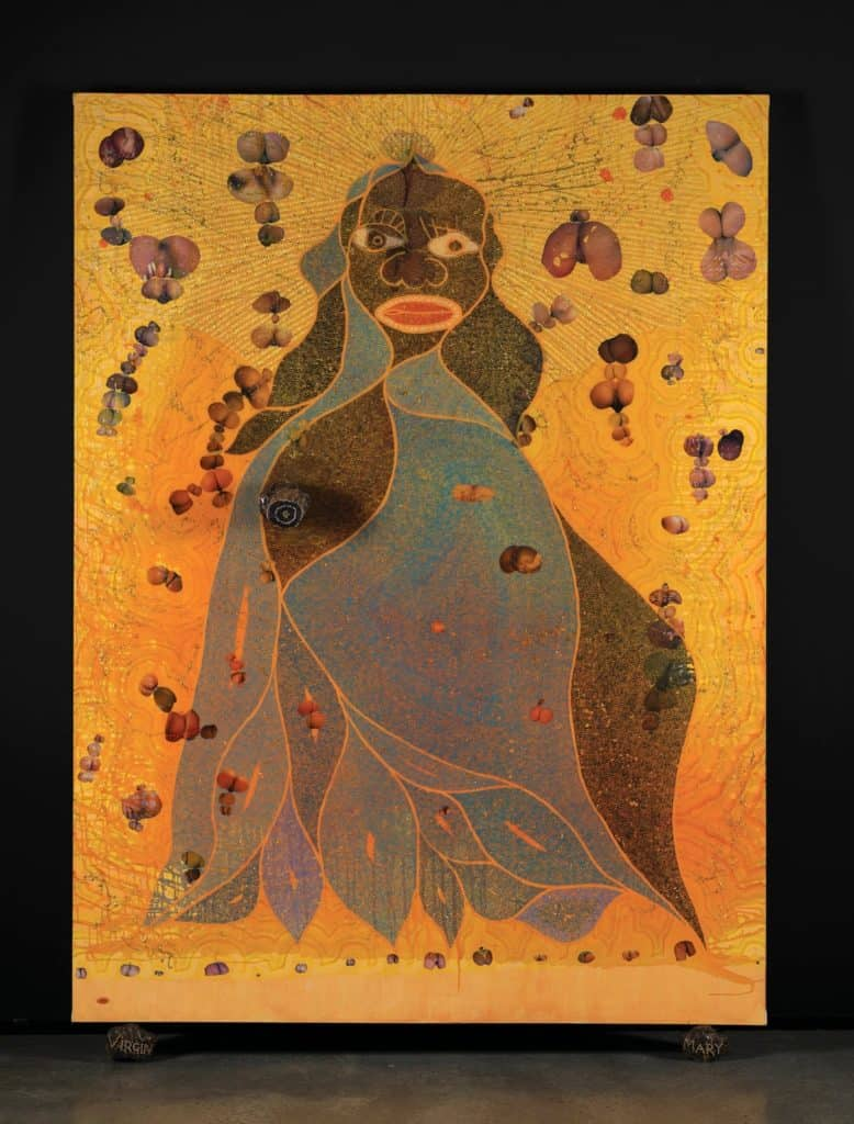 Elephant dung on canvas. Chris Ofili, The Holy Virgin Mary, 1996.