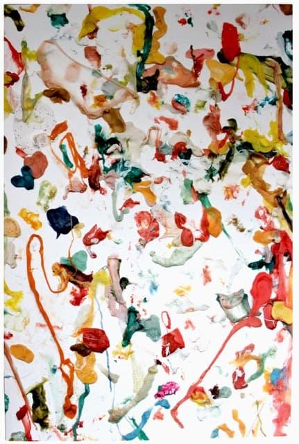 gum on unprimed canvas. Dan Colen, Untitled (Bubblegum), 2011.