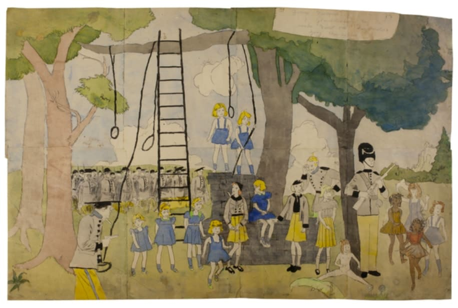 Watercolour and pencil on paper by Henry Darger