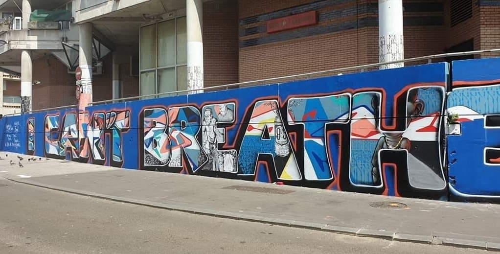 """I can't breathe"" graffiti in Saint Denis, France."