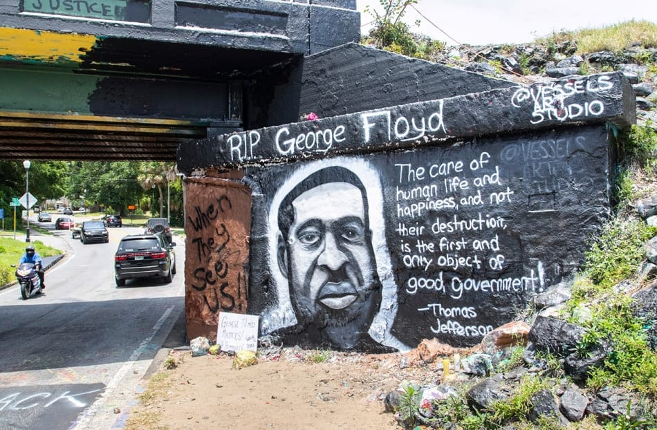 George Floyd at Graffiti Bridge in Pensacola, Florida.