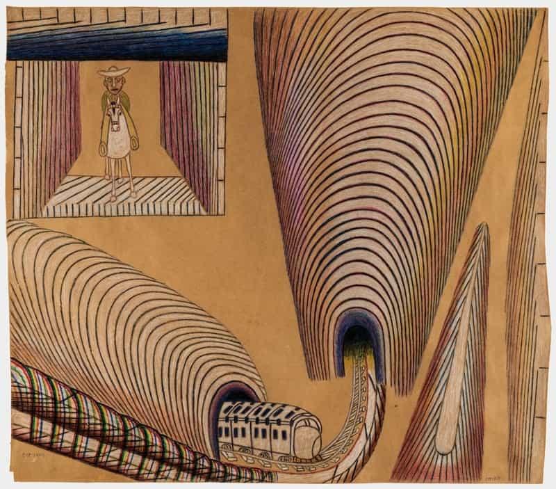 Martín Ramírez. Untitled (Train and Tunnels), 1954