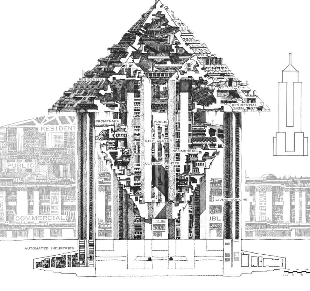 Hexahedron Arcology (1969) by Paolo Soleri