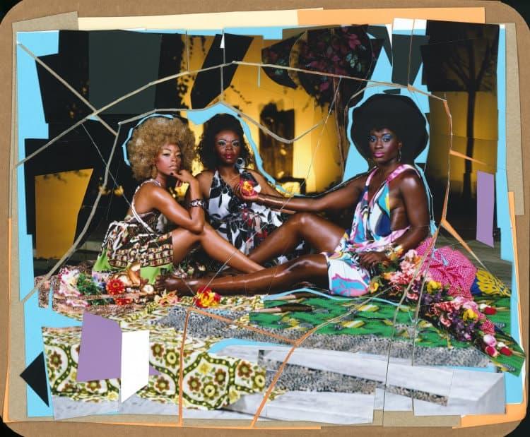 Mickalene Thomas, Le Dejeuner sur l'herbe: Les Trois Femmes Noires, 2010.