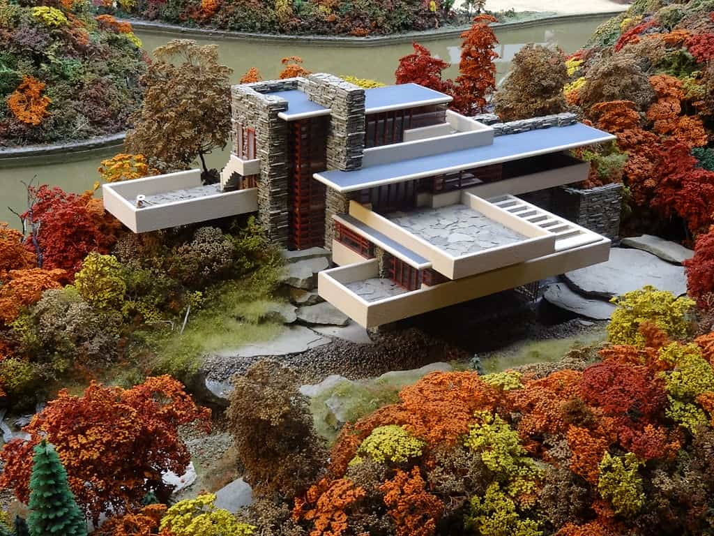 Miniature replica of the Fallingwater building