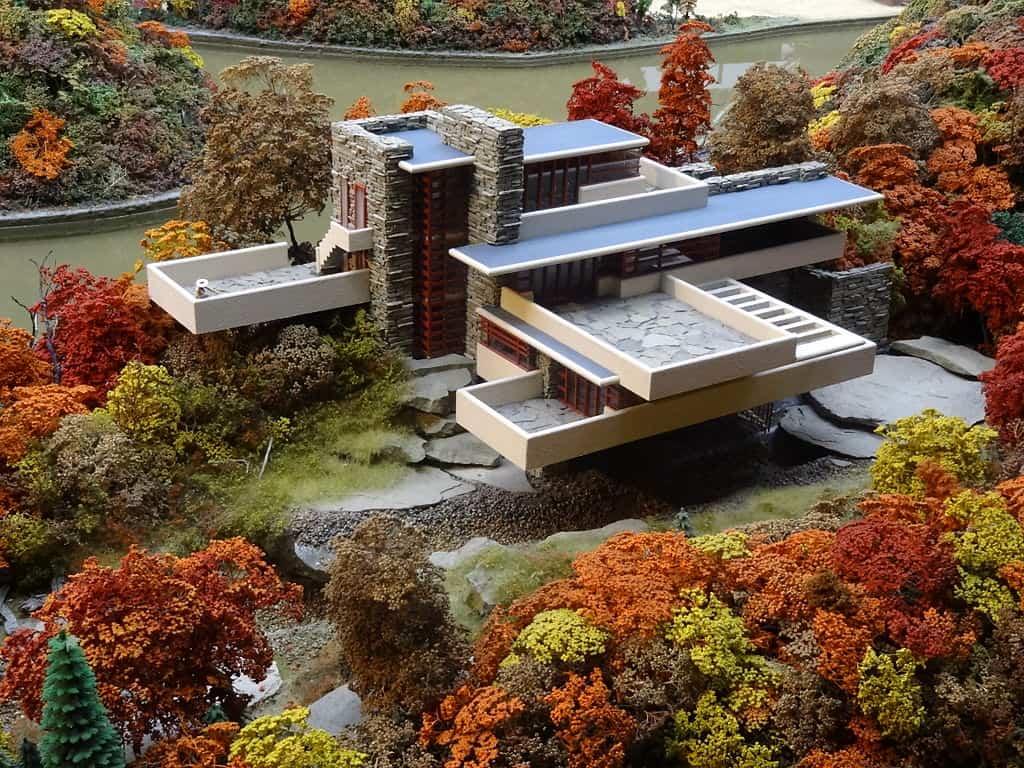 Miniature replica of the Fallingwater building