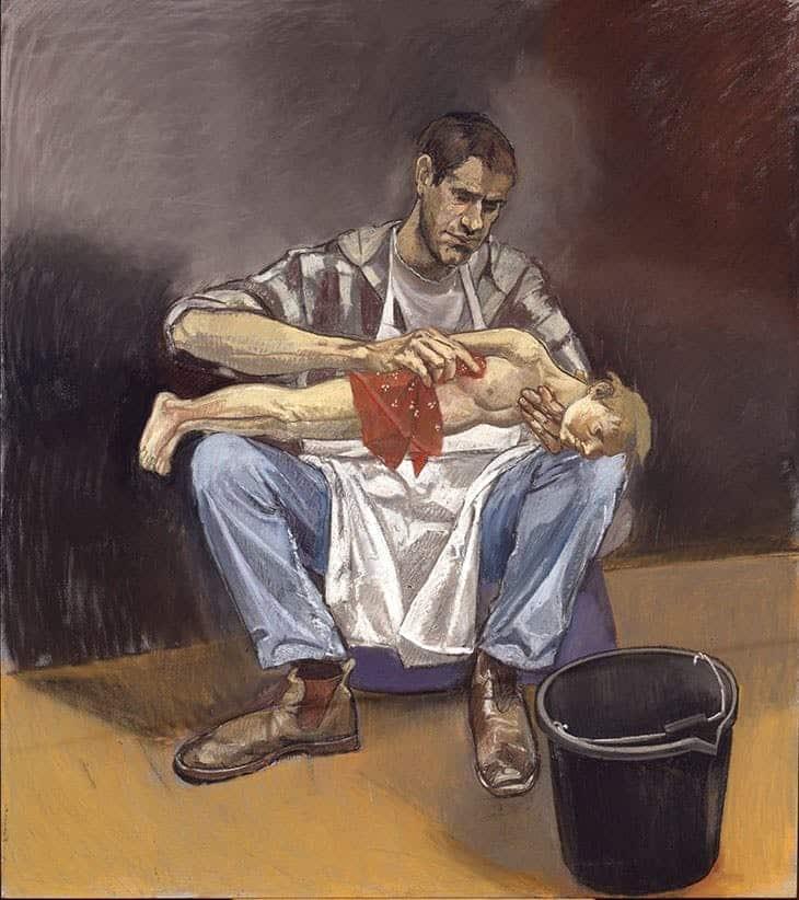Paula Rego, Geppetto washing Pinocchio, 1996. Fairy tales art.