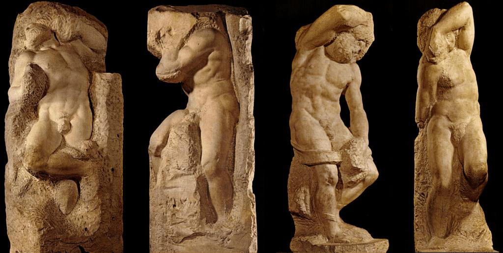 Michelangelo, Slaves or Prigioni, c. 1525-1530. Unfinished Art