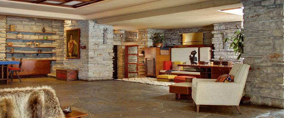 Interior of Fallingwater by Frank Lloyd