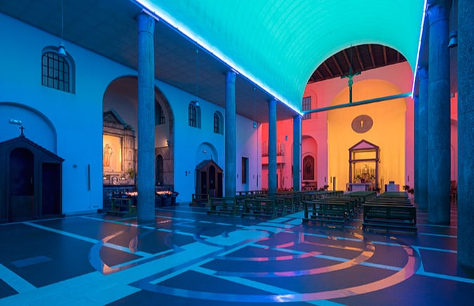 Dan Flavin art at S. Maria Annunciata in Chiesa Rossa