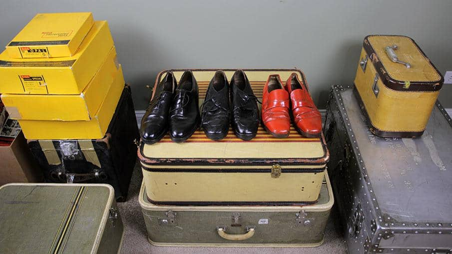 Suitcases and shoes belonging to Vivian Maier