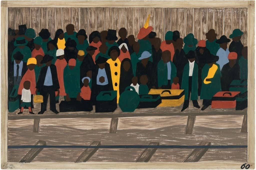 African Diaspora. Jacob Lawrence, Panel 60: And the Migrants Kept Coming.