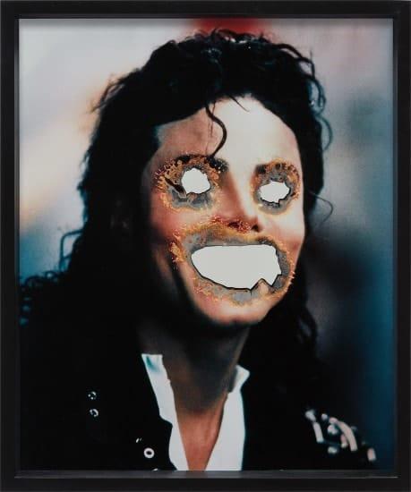 Douglas Gordon -  burnt photograph and mirrored glass (Michael Jackson)