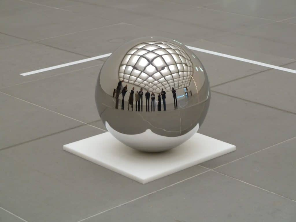 Spinning Ball 50 by Jeppe Hein - high polished stainless steel ball