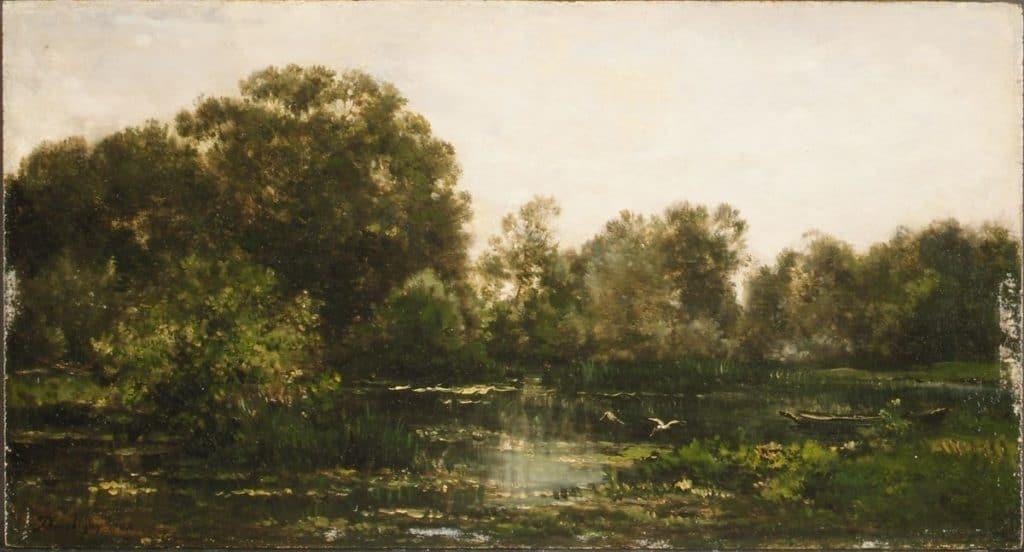 A River Landscape with Storks - Charles-François Daubigny