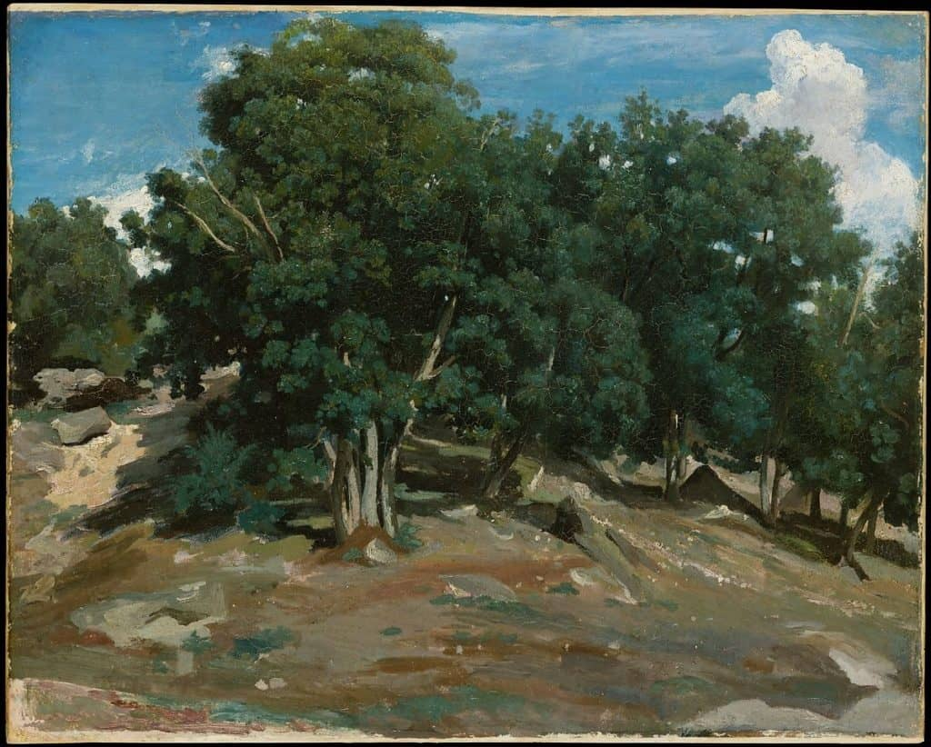Fontainebleau: Oak Trees at Bas-Bréau by Camille Corot
