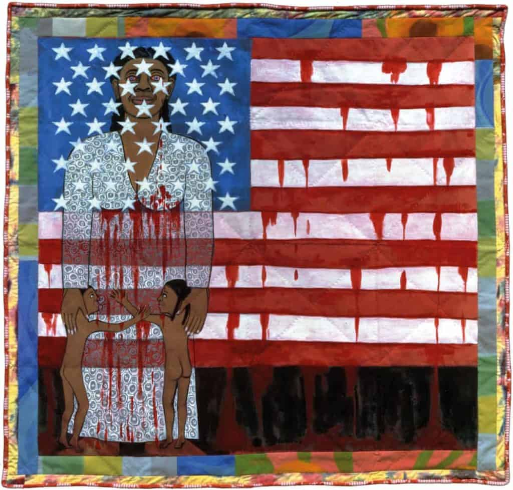 Faith Ringgold, The Flag Is Bleeding #2 (American Collection #6), 1997.