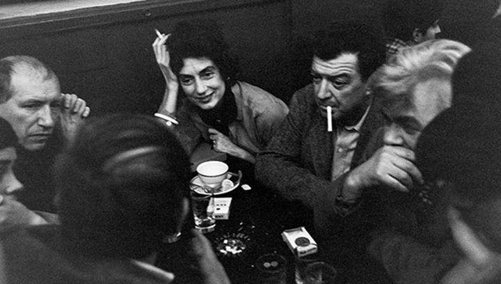 Charlotte Brooks, left, Jack Tworkov, Mercedes Matter, and James Brooks at the Cedar Tavern, 1960.