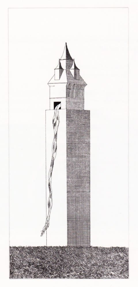 David Hockney, The Tower Had One Window (Rapunzel), 1969-70.