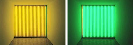 Dan Flavin green yellow lights