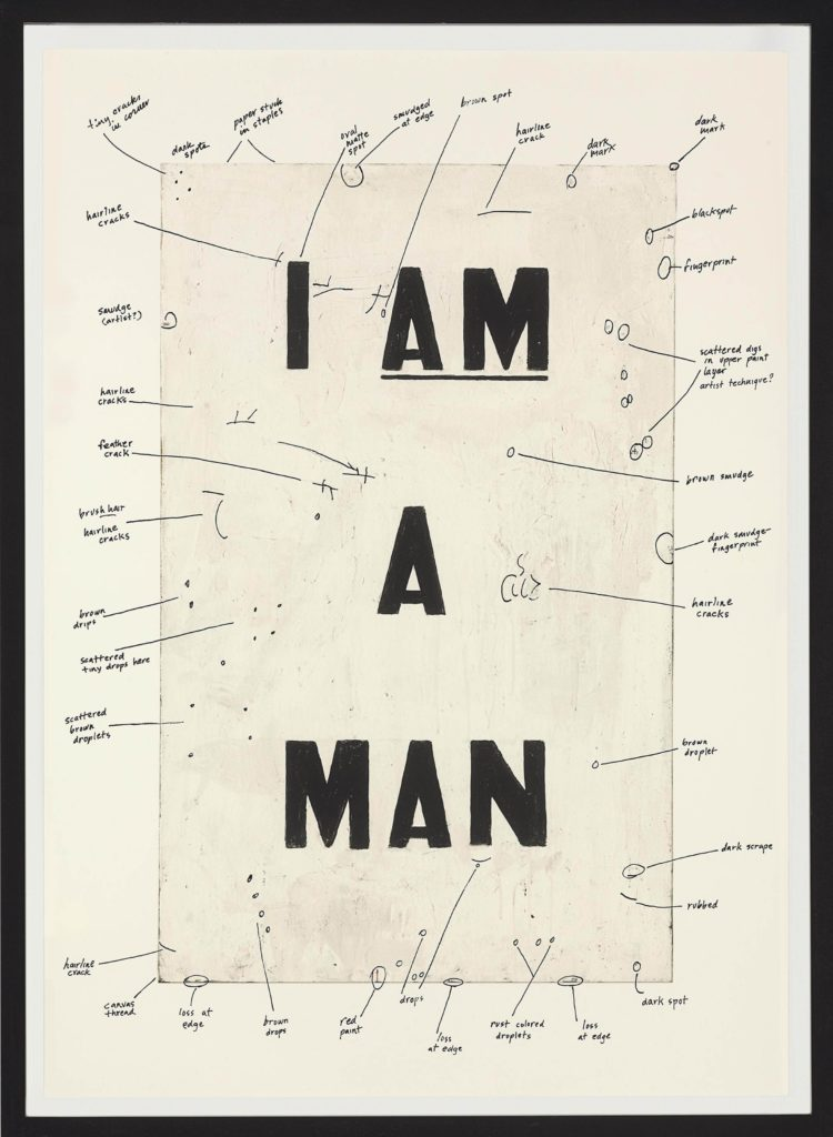 Glenn Ligon, Condition Report (detail, right panel of diptych), 2000