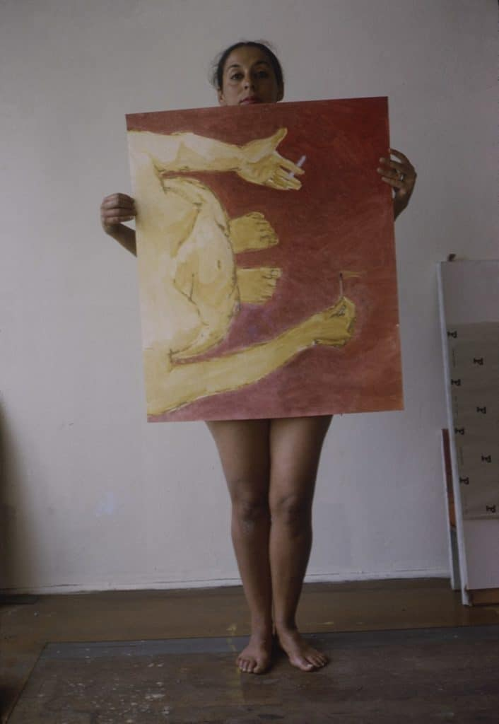 Luchita Hurtado with an unfinished version of Untitled, completed in 1971.