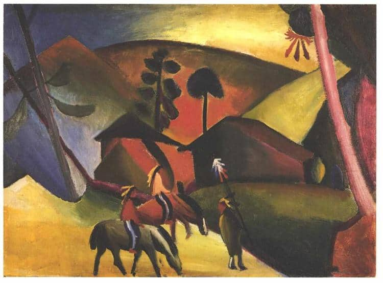 August Macke, Native Americans on Horses, 1911