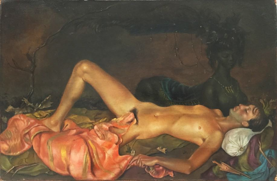 Women of surrealism: Leonor Fini, Chthonian Deity Watching over the Sleep of a Young Man, 1946
