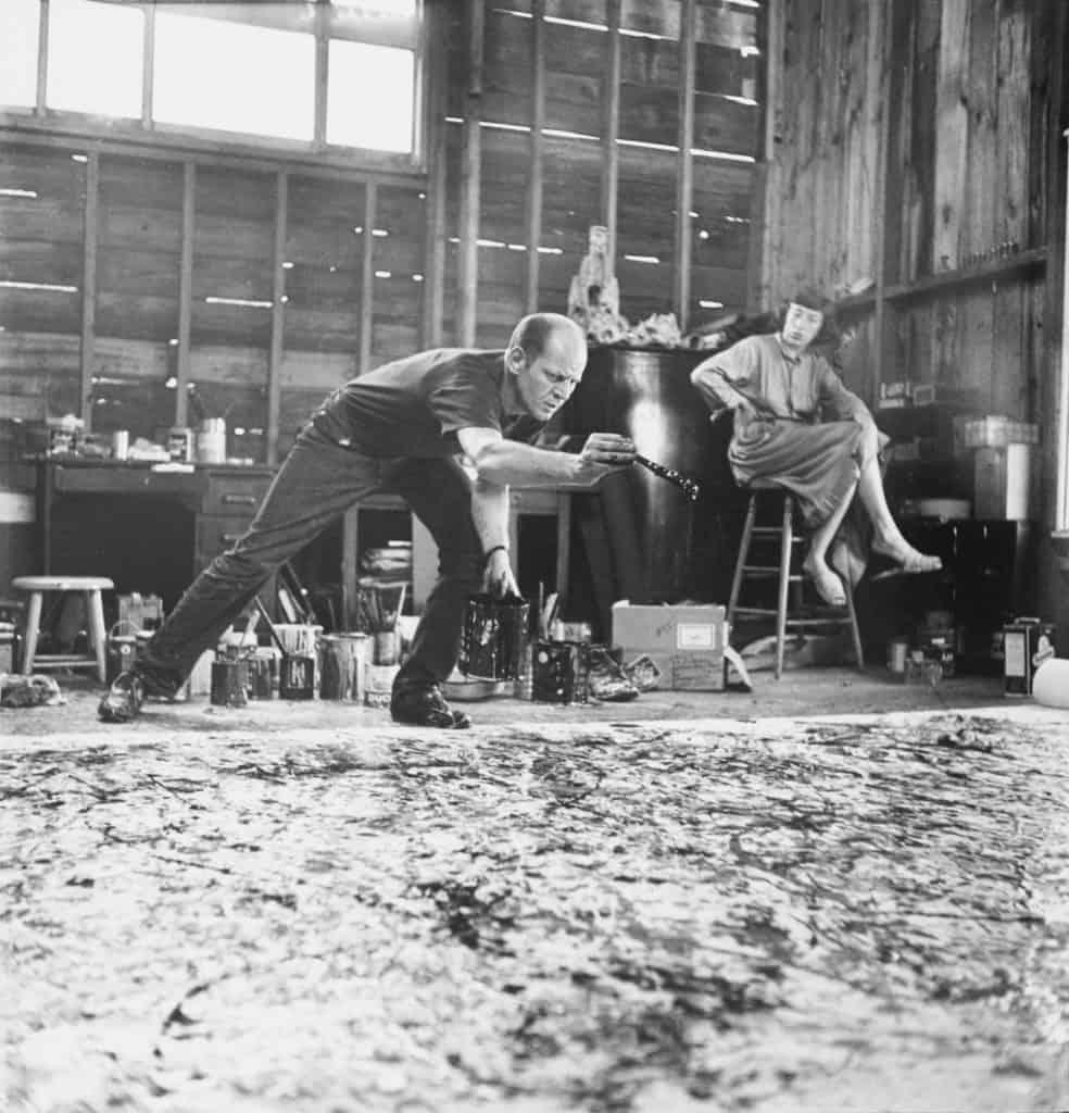 Jackson Pollock and Lee Krasner in their homestead studio