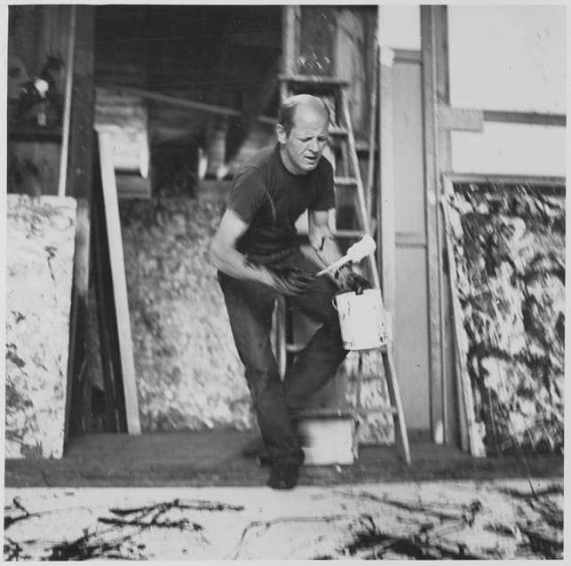 Abstract expressionist Jackson Pollock in his studio