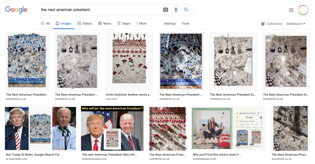 """Google image search results for typing """"the next american president""""."""
