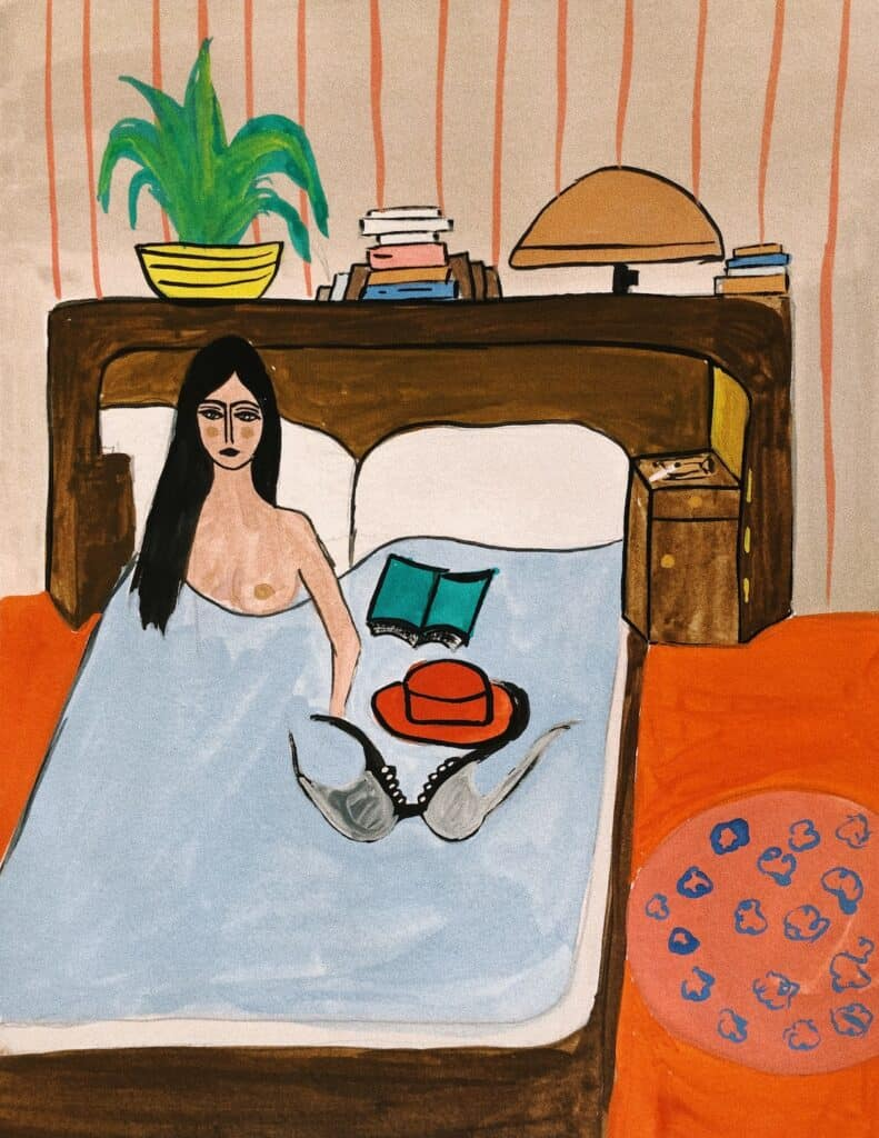 Maria Kassab, 6 AM. From the series Of Colors & Isolation, 2020. Gouache on paper. Courtesy of the artist.