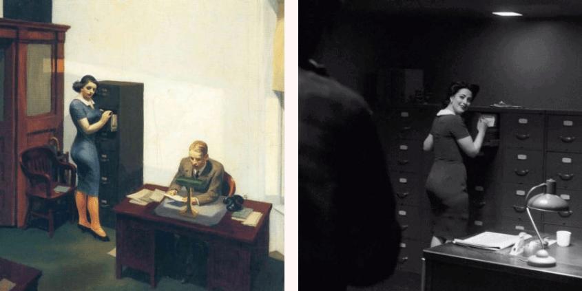 Edward Hopper, Office at Night, 1940. Courtesy Walker Art Center in Minneapolis, Minnesota and Still from Twin Peaks Season 3 Episode 8