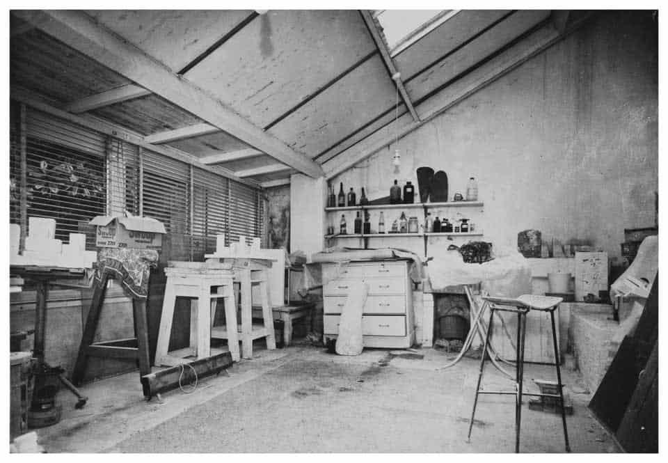 The plaster studio of sculptor Barbara Hepworth, Trewyn Studio, St Ives, 1975. Courtesy Bowness. Barbara Hepworth © Bowness.