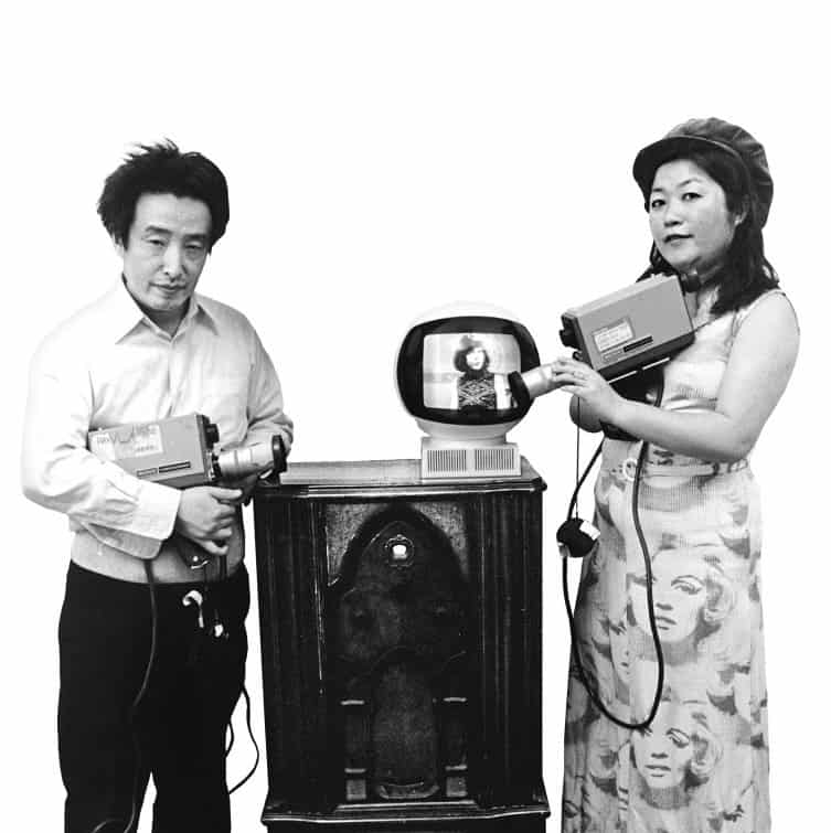 A 1974 photo of Nam June Paik and wife Shigeko Kubota with Sony Portapaks.
