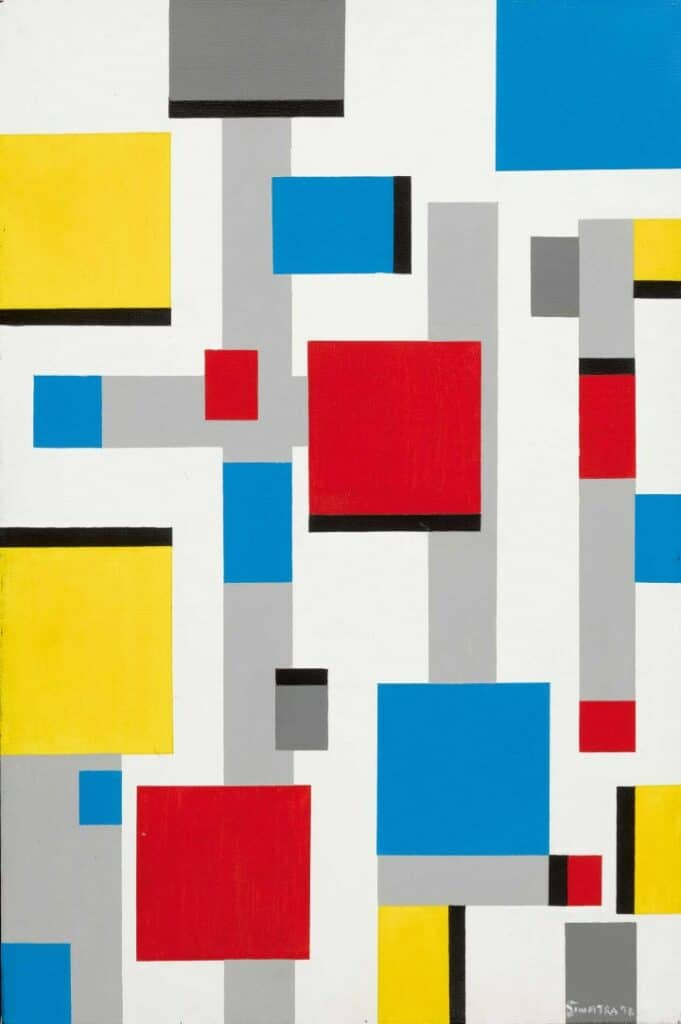 Frank Sinatra, Abstract after Mondrian, 1991. Oil on canvas. Courtesy of Sotheby's.
