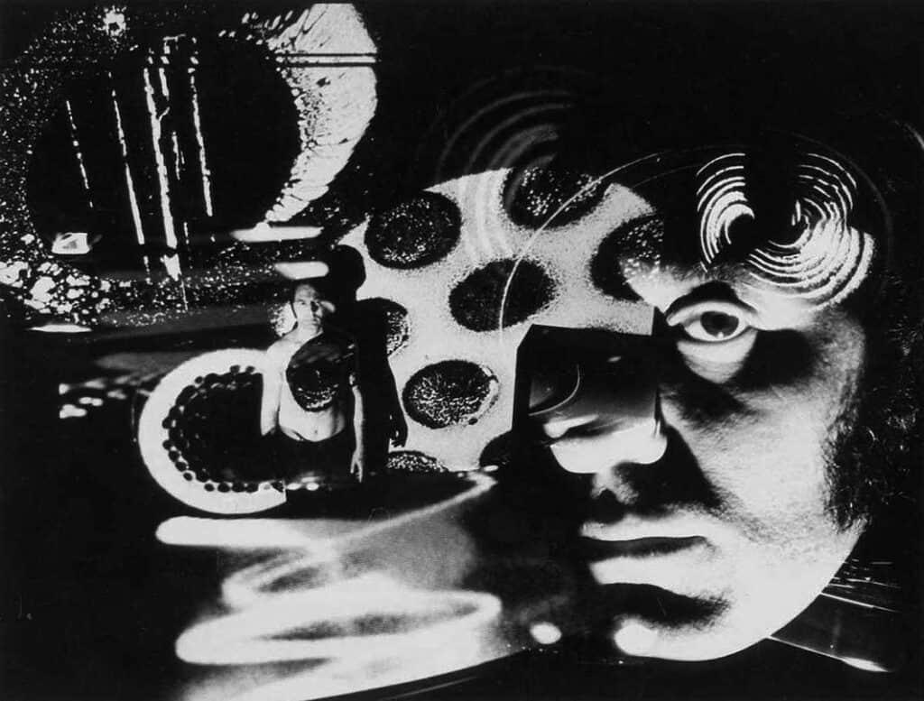 Electromedia portrait of Aldo Tambellini at The Black Gate Theater, New York, 1967. Photo: Richard Raderman. © The Aldo Tambellini Art Foundation