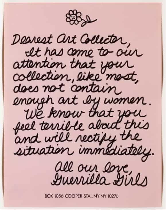 Guerrilla Girls, Dearest Art Collector,1986.