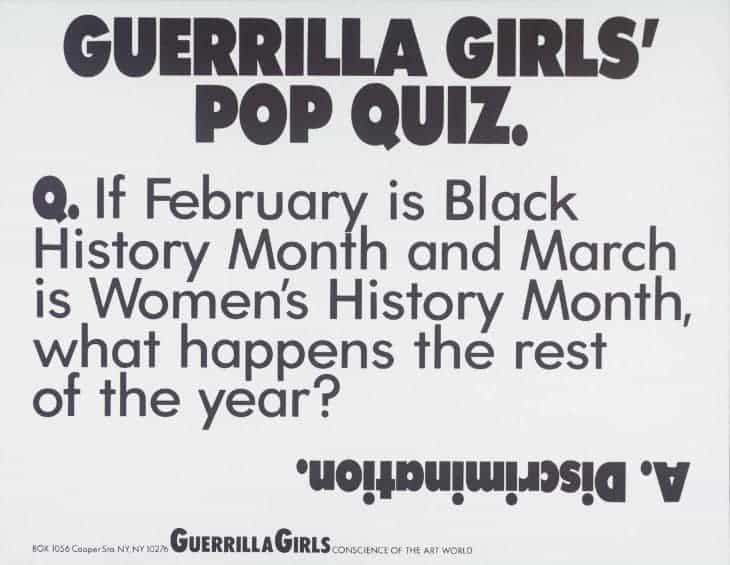 Guerrilla Girls, Guerrilla Girls' Pop Quiz, 1990