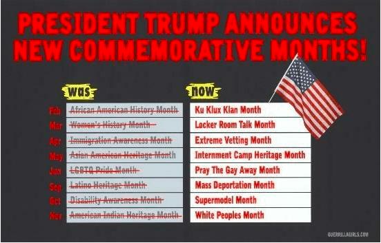 Guerrilla Girls, Trump Announces New Commemorative Months, 2016.