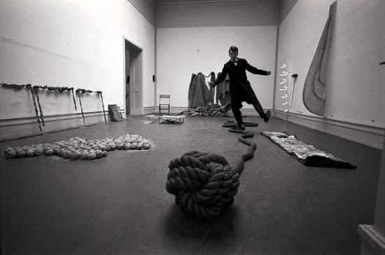 """Mario Merz, Robert Morris, Barry Flanagan and Bruce Nauman, """"When Attitudes Become Form"""" at Kunsthalle Bern, 1969. Courtesy Contemporary Art Daily"""